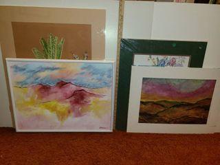 4 Pcs  of Various Art  1 Framed  3 Matted