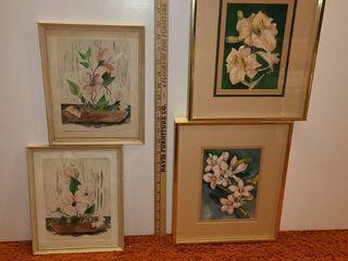 4 Framed Flower Art Pieces