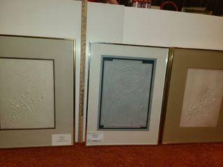3 Framed Cast Paper Art Decor