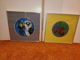 2 Framed Animal Prints  Eagle and lobster