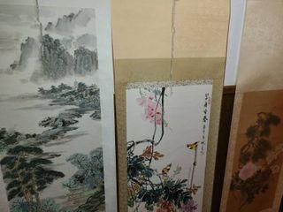 3 Oriental Wall Hangings  70 x 22