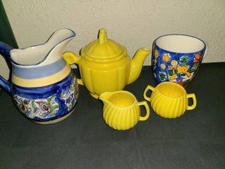 Yellow Tea Pot with Sugar and Creamer  Pitcher and Mug  6 Pcs