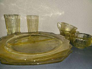 9 Pcs  Yellow Depression Glass  1 Mug has a crack