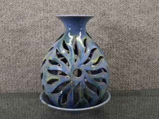 Vintage Barbalas Candle light Signed by Artist   Barbados Pottery   7 1 2