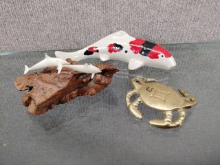 lot of 3 Home Decor Items   lobster  Fish  Dolphins   Dolphins Signed by Artist