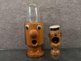 lot of 2 Wood Carved Popeye Nutcracker   Candy Dispenser   HMS Marked in Nutcracker