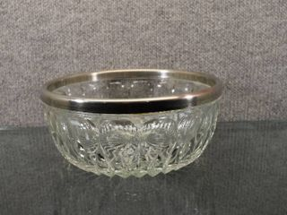 Vintage leonard Italy lead Crystal Bowl w Silver Plated Rim   Rim is removable for Cleaning   9