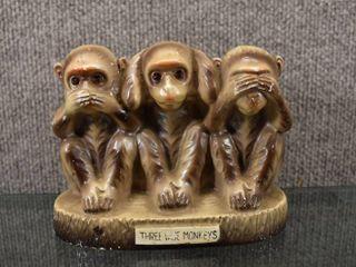 Vintage Three Wise Monkeys MCM Bank