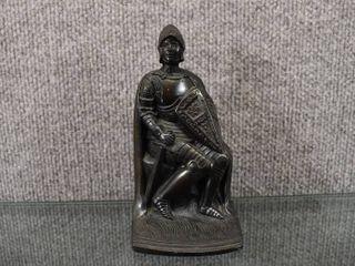 Vintage Sitting Knight Figure   Pot Metal   6 1 2 Tall