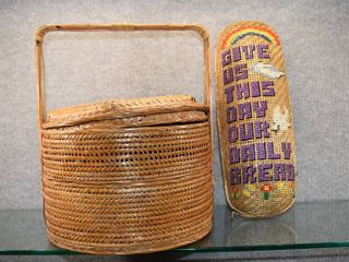 Vintage lot of 2 Sewing Basket w  Sewing Notions   Crochet Items  Basket