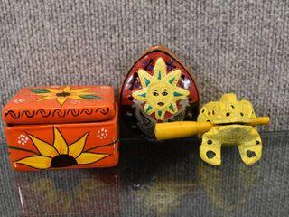 Vintage lot of 3 Great Hippy lot Trinket Box  Ocarina   Frog