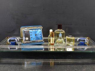 Vintage Dresser lot includes Pocket Alarm   Perfumes   Pedometer  Shalimar