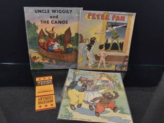 Vintage lot of 3 Great 1934 Kids Books   Bonus Antiques Roadshow Bookmark   Peter Pan  Uncle Wiggly   The Three Bears   Platt   Munk Co  Inc    Books are Sealed in Plastic