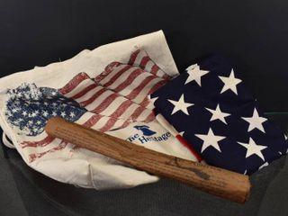 Vintage lot of 5 Patriotic lot   Tote Bag  Flag  Wood Hearts  Declaration   Flag is 34  x 52