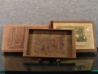 Vintage lot of 3 Wood Candy Boxes   Serving Tray   11 1 2  x 6 1 2