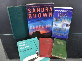 Vintage lot of 6 Book lot   Webster Pocket Dictionary  Digital Fortress  Deadline   More   Authors   Sandra Brown  Dan Brown   More