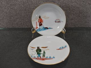 Vintage lot of 2 Knox China By Acee Blue Eagle Bowl   Saucer   Series Bacon Rind   Geronimo   5 1 2