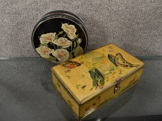 Vintage lot of 2 Tin Candy Boxes   Artstyle Candy Company Boston   St louis