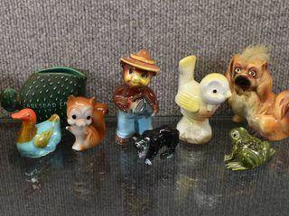 Vintage lot of 8 Ceramic Animal   Bird  Frog  Bear   More