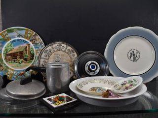 Vintage lot of 12 Kitchen China   Aluminum   Trivets  Plates  Saucers   lids