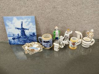 Vintage lot of 11 Victorian Decor Items  Mini Steins  Figures  Trivet   Mini Bible