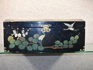 Vintage Oriental lidded Black Chest   Damaged   22  x 9