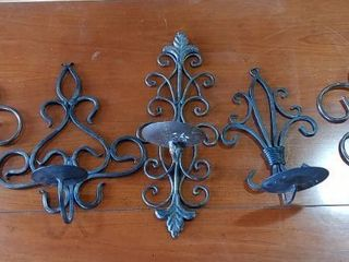 lot of 5 Metal Wall Sconces Various Size