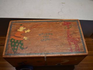 Vintage Whimsie Toy Chest Full Of Vintage Toys   Includes Tops  Kaleidoscopes  Blocks   More   25  W x 15  l x 13  T
