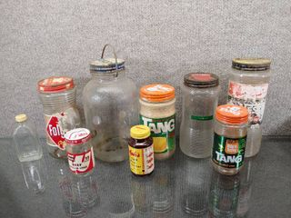 Vintage lot of 9 Glass Bottles Atlas Mustard  Instant Coffee  Wyler s and Watkins    See pics for additional items