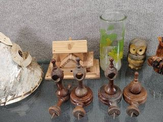 Vintage lot of 13 Various Wood   Ceramic Items  TeePee  Glass  Owl and   More   See pics for additional items