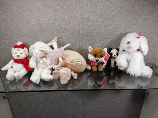 Vintage lot of 7 Stuffed Animals  Bears  Dolls and Rabbit   See pics for items