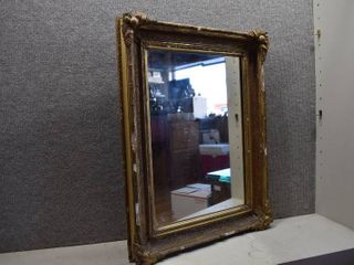 Vintage Gold Colored Framed Mirror   See pic for condition    21  x 28