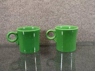Vintage Set of 2 Green Fiestaware Mugs 1931 1951   Homer laughlin   Stamped in Ink Fiesta   10oz