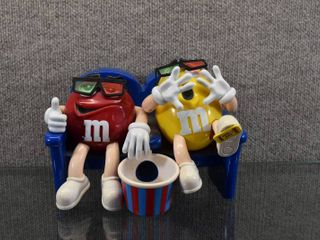 Vintage M M s Candy Dispenser At the Movies with 3D Glasses Collectible   Works   6 1 2  Tall