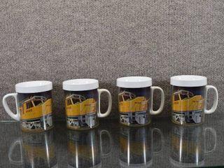 Vintage Set of 4 Union Pacific Railroad Mugs   Thermo Serv   Plastic   10 oz