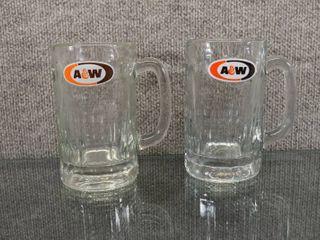 Vintage Set of 2 Vintage A W Root Beer Vintage Glass Mugs   6  Tall