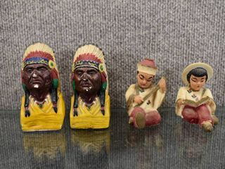 Vintage lot of 4 Vintage Oriental Figures   Pair of Indian Chiefs   3  Tall
