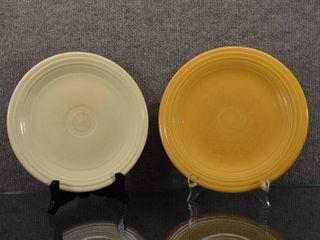 Vintage lot of 2 Fiesta Dinner Plates   Genuine Fiesta marked in Ink    10 1 4    9 1 2