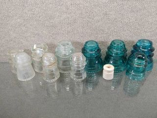 Vintage lot of 11 Vintage Glass Ceramic Insulators Blue and Clear   Hemingray Made in USA    14 41  25 41 42  26 48