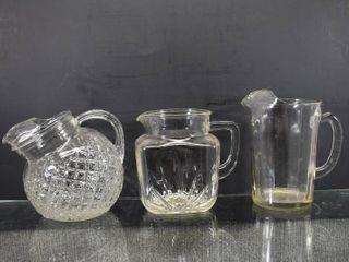 Vintage lot of 3 Drinking Water Pitcher   Diamond Ball Pitcher  Sunburst    7  x 5 1 2