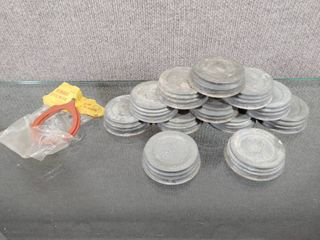 Vintage lot of 12 Mason Porcelain lined Canning Jar lids w Two Rubber Seals   Mason   Cap B38