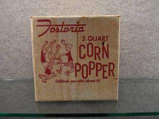 Vintage NIB Fostoria 3 QT Corn Popper 1960 s   McGraw Edison Company Boonville  Missouri   9 1 2