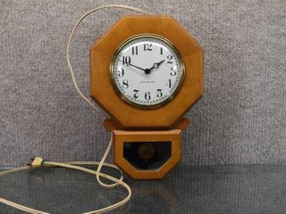 Vintage General Electric Wooden Wall Clock Model 8H31   13 1 2  Tall