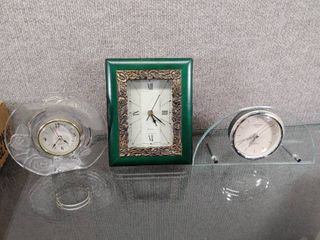 lot of 3 Quartz Desktop Clocks All Work    International Silver  other unknown