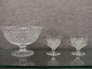 Vintage Oneida Crystal Footed Bowl  Cream   Sugar   Cut Crystal