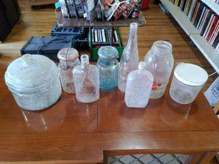 Vintage lot of 8 Glass Canning Jars  Medicine Bottle  Carrett Wine Bottle