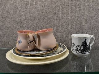 Vintage lot of 6 Plates   Moustache Cup   Cups   Kitchen Kraft  limoges ANG Stoneware