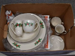 Vintage Christmas lot of Dinner Plates  Cups   Collector Plates   Spode  Porsgrund   Triomphe