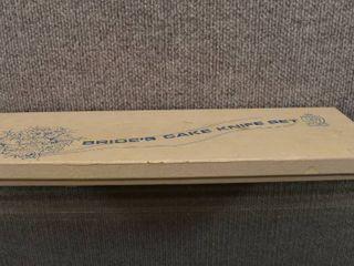 Vintage lot of Brides Cake Knives  Trinket Box  Porcelain Decor Pieces   Playboy Mug   Ardco  Schmid