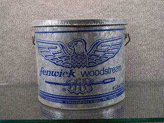 Vintage Fenwick Woodstream Metal Minnow Bucket   Niagara Falls Ontario   9 1 2